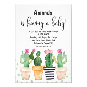Toddler & Baby themed Cactus Fiesta Watercolor Baby Shower Invitation