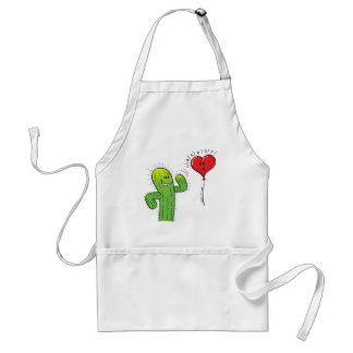 Cactus Flirting with a Heart Balloon Adult Apron