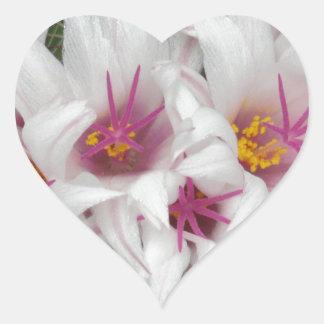 Cactus Floral Blossoms Destiny Gardens Heart Sticker