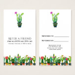 Cactus Floral Rustic Southwestern Refer a Friend Business Card
