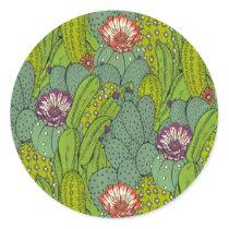 Cactus Flower Pattern Classic Round Sticker