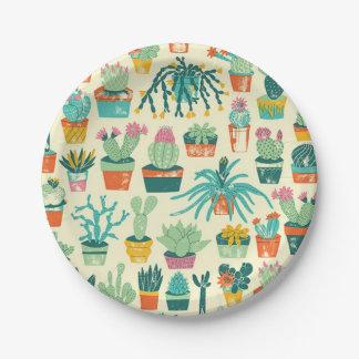 Cactus Flower Pattern Paper Plate