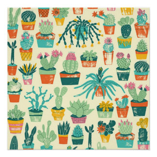 Cactus Flower Pattern Perfect Poster