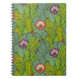 Cactus Flower Pattern Spiral Notebook