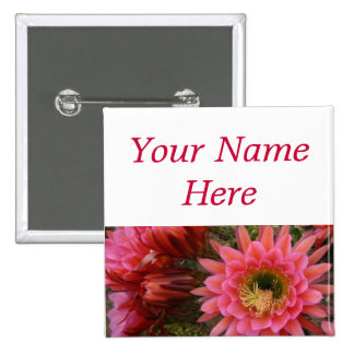 Cactus flower pin-back name tag pinback button