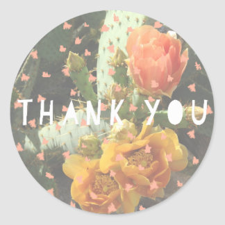 Cactus Flower Polka Dot Thank You Classic Round Sticker