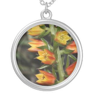 Cactus Flower Round Pendant Necklace