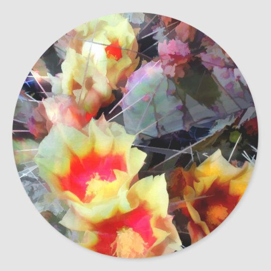 Cactus Flowers Bright and Prickly Classic Round Sticker
