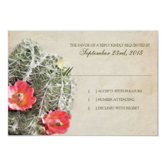 Cactus Flowers Wedding Invitation rsvp
