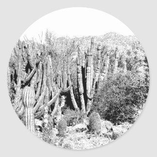 Cactus Forest in Black and White Classic Round Sticker