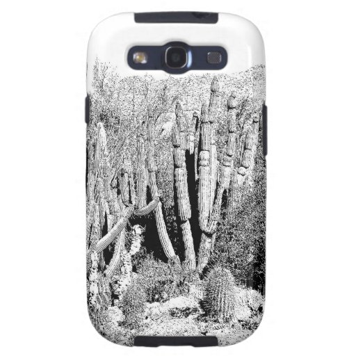 Cactus Forest in Black and White Galaxy S3 Case