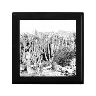 Cactus Forest in Black and White Keepsake Box