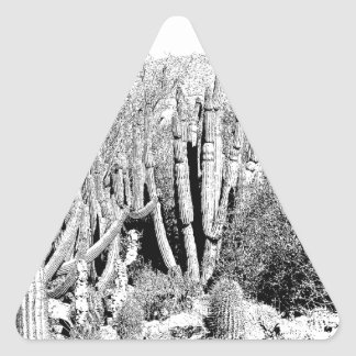 Cactus Forest in Black and White Triangle Sticker