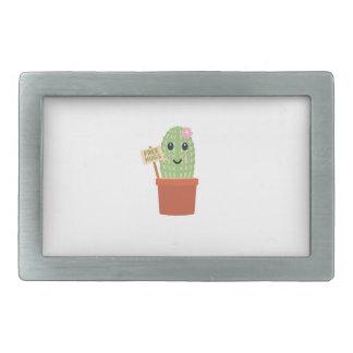 Cactus free hugs rectangular belt buckle