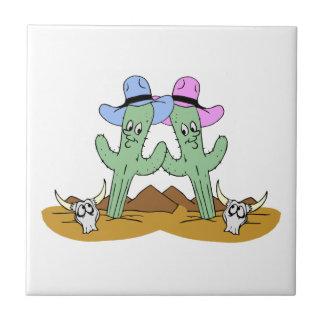 Cactus Friends Forever Ceramic Tile