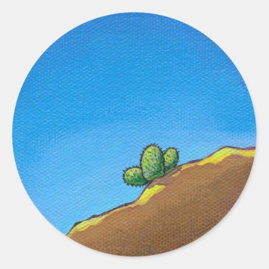 Cactus fun desert landscape art colorful painting classic round sticker