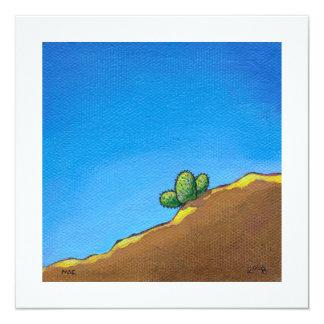 Cactus fun desert landscape art colorful painting 5.25x5.25 square paper invitation card