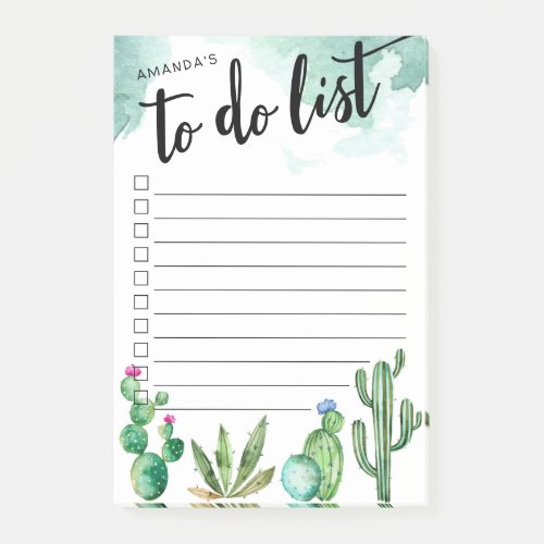Cactus Garden Personalized Lined To-Do List Post-it Notes