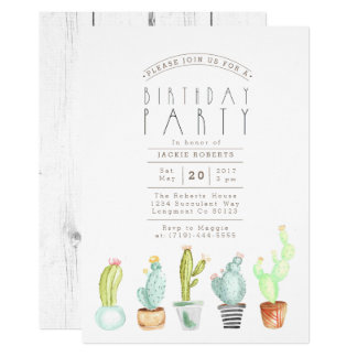 Cactus Garden | Watercolor Birthday Party Invite