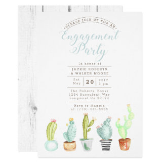Cactus Garden | Watercolor Engagement Party Invite