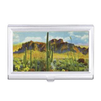 Cactus gigante de los saludos retros de Arizona de Caja De Tarjetas De Presentación