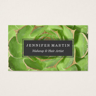 Cactus Green Succulent with Faux Gold Tips Business Card