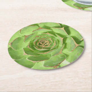 Cactus Green Succulent with Faux Gold Tips Round Paper Coaster