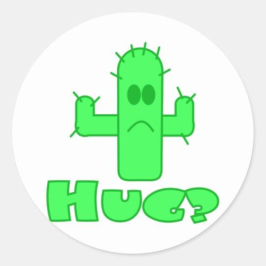 Cactus Hug Classic Round Sticker