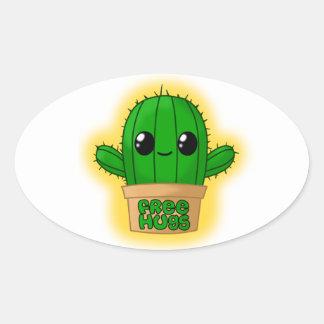 Cactus Huggable Pegatina Ovalada