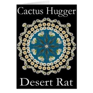 Cactus Hugger T Shirt with Saguaro Mandala card