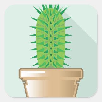 Cactus in a pot square sticker