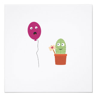 Cactus in love with balloon card