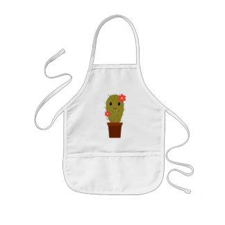 Cactus lindo de la niña delantal infantil