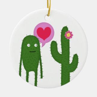 cactus love ceramic ornament
