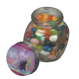 """Cactus Lover"" Oil pastel art by Colleen Wallen Jelly Belly Candy Jar"