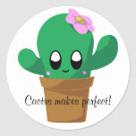 """Cactus Makes Perfect round sticker<br><div class=""""desc"""">Do you know what plants like to say when they don't immediately succeed? Cactus makes perfect! This cute sticker reminds all of us to be patient with ourselves as we grow (pun intended).</div>"""