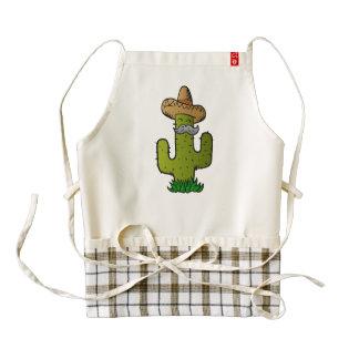 cactus mexicano con el bigote delantal zazzle HEART