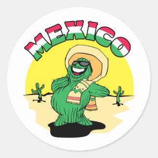 Cactus mexicano pegatina redonda