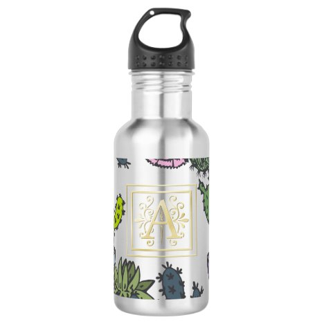 Cactus Monogram A Stainless Steel Water Bottle