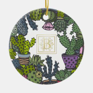 Cactus Monogram B Ceramic Ornament