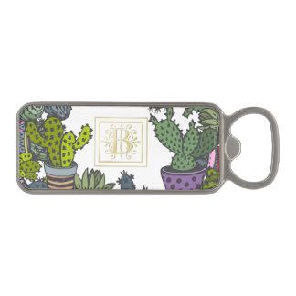 Cactus Monogram B Magnetic Bottle Opener