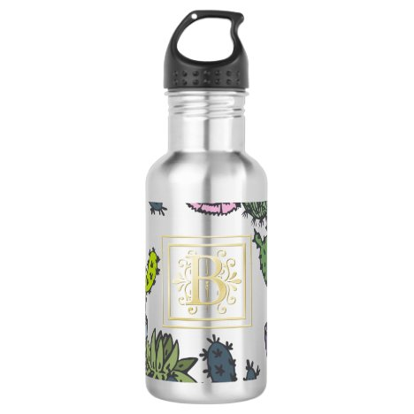 Cactus Monogram B Stainless Steel Water Bottle