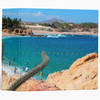 Cactus On Rocky Hilltop Over Sandy Beach 3 Ring Binder