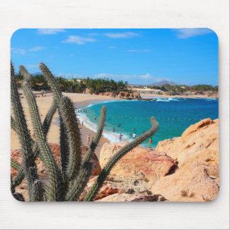 Cactus On Rocky Hilltop Over Sandy Beach Mouse Pad