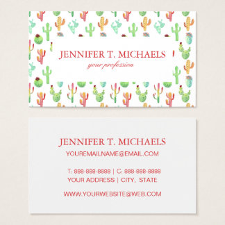 Cactus Pastel Watercolor Pattern Business Card