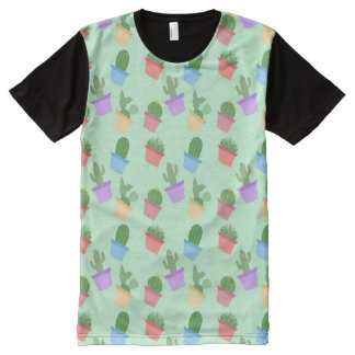 Cactus Pattern All-Over-Print T-Shirt