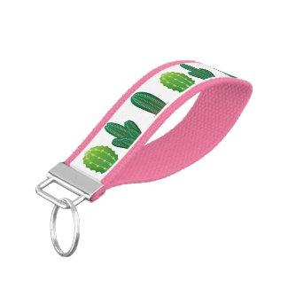 Cactus Pattern Pink Wrist Keychain