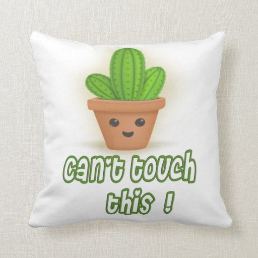 Cactus Pillow, Can't touch this, rustic home decor Throw Pillow