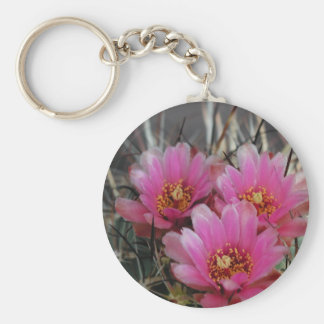 cactus pink flowers keychain
