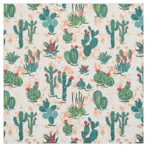 Cactus Plant and Cactus Flowers Fabric